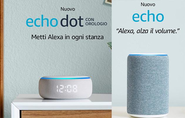Amazon Echo Dot con orologio e Echo 3a gen in Italia