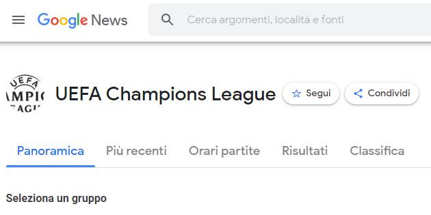La Uefa Champions League si segue anche su Google News