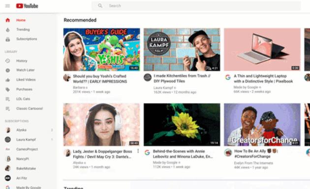 Youtube ha nuova Home su Desktop e Tablet