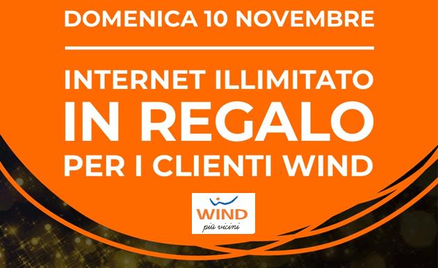 Wind regala un giorno di internet illimitato ai propri clienti il 10 Novembre 2019