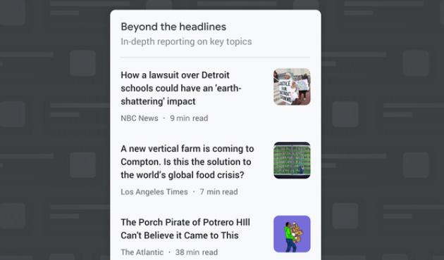 Google News mette in evidenza gli articoli di approfondimento