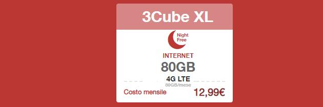 3Cube XL, abbonamento internet con 80 Giga da 12,99 euro al mese