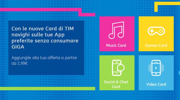 TIM Card, nuove opzioni navigare senza consumare giga nelle app di Musica, Giochi, Social, Chat e Video