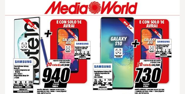 Samsung Galaxy A10 a 1 euro acquistando S10 o Note10 da MediaWorld