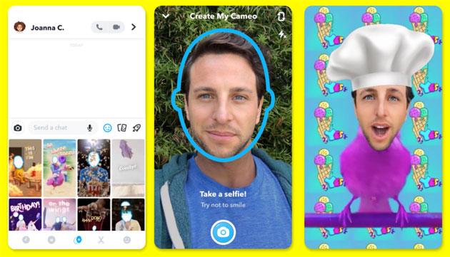 Snapchat Cameos, strumento creativo per mettere la faccia in immagini animate