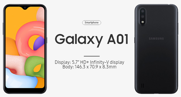 Samsung Galaxy A01 ufficiale con tre fotocamere: Foto e Specifiche