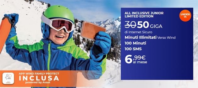 Wind All Inclusive Junior Limited Edition per Under 14: 50 Giga, Minuti e SMS inclusi a 6,99 euro al mese