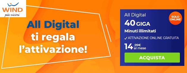 Wind ALL Digital: 40 giga e minuti illimitati a 14,99 euro al mese