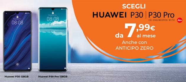 Smartphone Huawei P30 e P30 Pro piu' convenienti con Wind