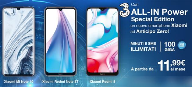 3 ALL-IN Power Special Edition 2020: tutto incluso, anche nuovo smartphone, da 11,99 euro al mese