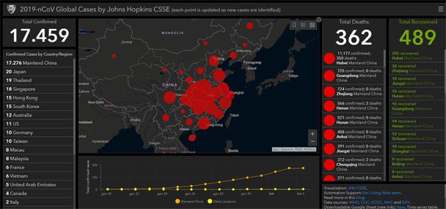 Coronavirus, online la mappa per visualizzare e tracciare i casi segnalati nel mondo
