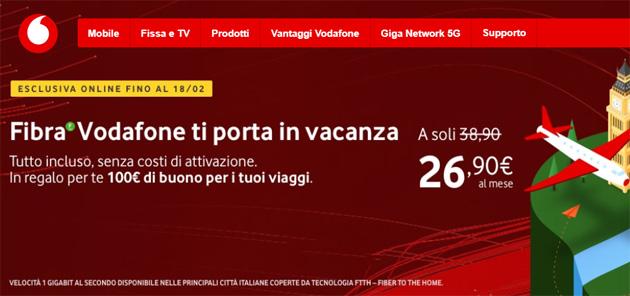 Vodafone Fibra regala buono per viaggiare
