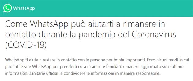 WhatsApp per la pandemia Coronavirus COVID-19 lancia Hub  Informativo e dona 1 milione di dollari