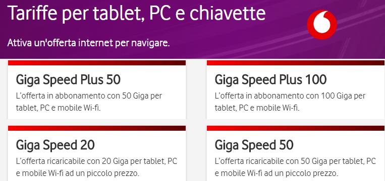 Giga Speed: le offerte dati Vodafone per navigare da tablet, PC e chiavette