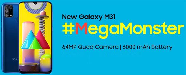Samsung Galaxy M31 con batteria da 6000mAh e camera da 64MP ufficiale in Italia