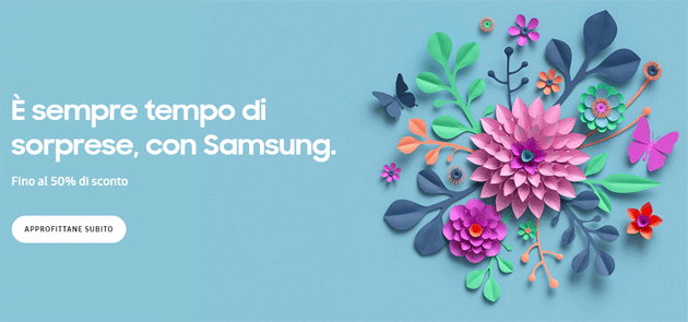 Samsung per Pasqua 2020 sconta smartphone, wearable, TV e altri prodotti fino al 50 per cento