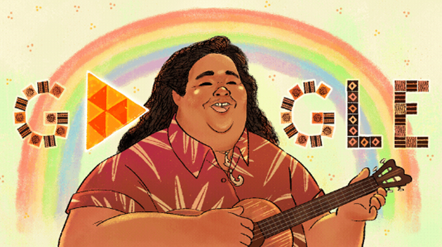 Doodle Google per Israel Kamakawiwo'ole, famoso suonatore di ukulele che ha reinterpretato 'Over the Rainbow'