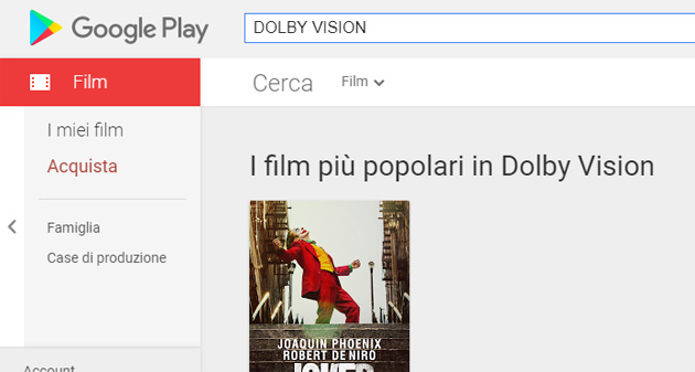Su Google Play film in Dolby Vision ora disponibili (aggiornato)