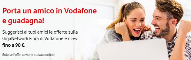 Vodafone ricompensa fino a 90 euro chi promuove le sue offerte di rete fissa, se il destinatario attiva un nuovo contratto