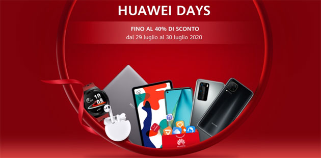 Huawei Days 29 e 30 Luglio 2020: smartphone, wearable e laptop in promo