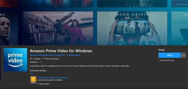 Amazon Prime Video su Windows 10 con app ufficiale