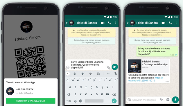 WhatsApp Business, chat con codici QR