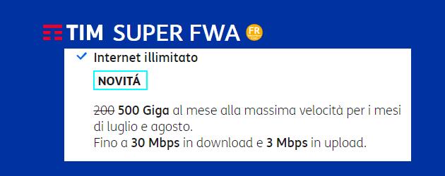 TIM FWA: fino a 500 Giga di traffico a 30Mbps con la promo Summer Edition