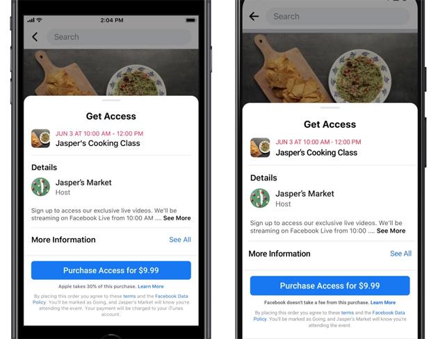Facebook lancia gli Eventi online a pagamento senza trattenere commissioni su web e Android per aiutare le imprese durante la ripresa post-Covid19, Apple rifiuta invito a non trattenere le sue commissioni sui pagamenti in-app