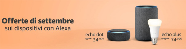Amazon per fine Estate sconta Echo con Alexa fino a 75 euro