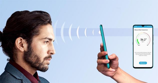 Umidigi A7S, smartphone Android GO con termometro a infrarossi che misura la temperatura a distanza