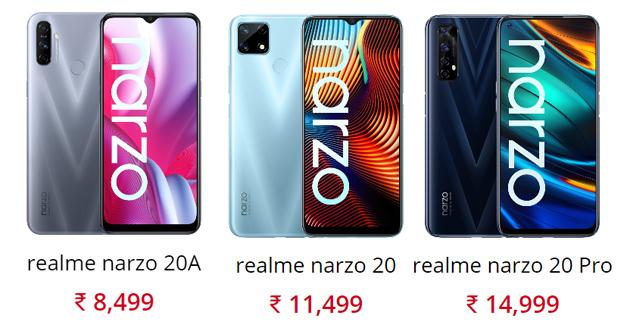 Realme annuncia Narzo 20A, Narzo 20 e Narzo 20 Pro: Caratteristiche, Foto e Prezzi