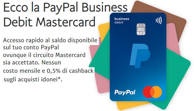 Carta di debito PayPal Business Debit Mastercard ora disponibile in Italia