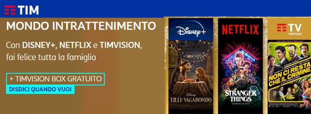 TIM Mondo Intrattenimento: offerta unica con Disney Plus, Netflix e TIMVision Plus