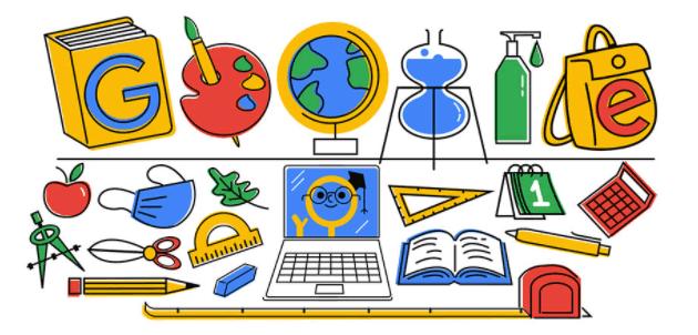 Google doodle al Primo Giorno di Scuola ai tempi della pandemia del Covid19