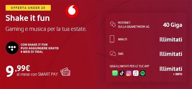 Vodafone Shake It Fun, ultimi giorni per avere 40 Giga, minuti e sms illimitati a 9,99 euro al mese