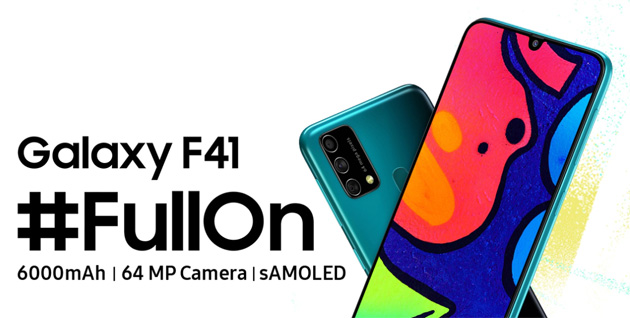 Foto Samsung Galaxy F41 con batteria 6000mAh, camera da 64MP e display Super Amoled ufficiale in India