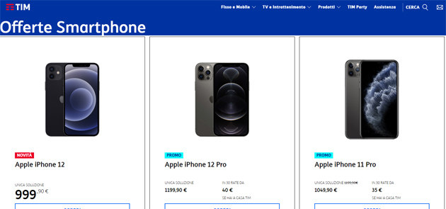 TIM: tutti gli smartphone in catalogo acquistabili