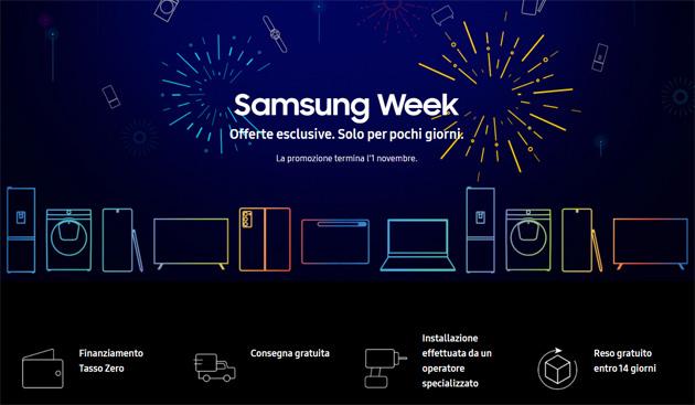 Samsung Week dal 26 ottobre al 1 novembre 2020: offerte in vendita abbinata su smartphone e non solo