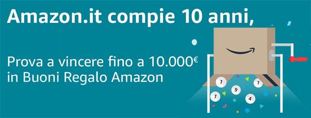 Amazon in Italia compie 10 anni, festeggia regalando Buoni Regalo da fino 10mila euro (aggiornato con i codici vincenti)