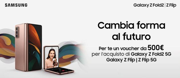 Samsung con Voucher da 500 euro sconta Galaxy Z Fold2 5G e Galaxy Z Flip: come richiedere il Bonus