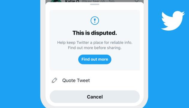 Twitter avvisa gli utenti che stanno per mettere 'Mi piace' ai tweet segnalati come fuorvianti