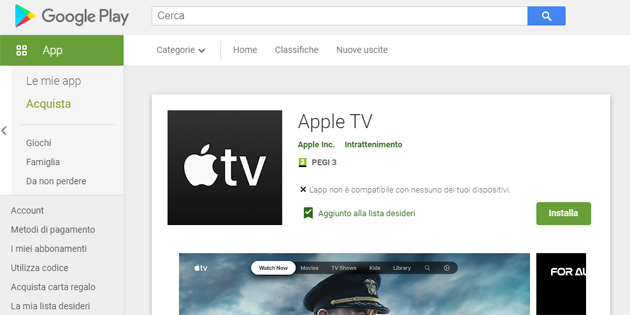 Foto App Apple TV per Android TV nel Google Play Store disponibile