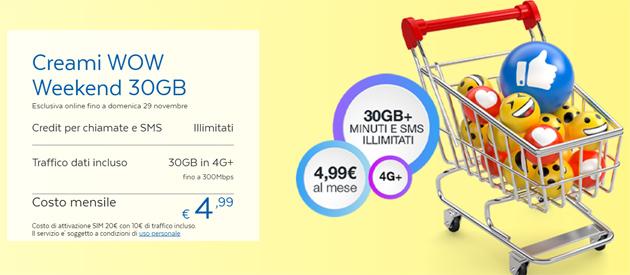 PosteMobile Creami WOW Weekend: 30GB, minuti e SMS senza limiti a 4,99 euro