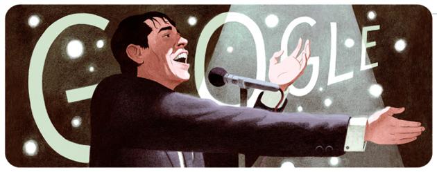 Jacques Brel nel doodle di Google, artista belga che viene festeggiato nel giorno in cui tenne la sua performance di addio
