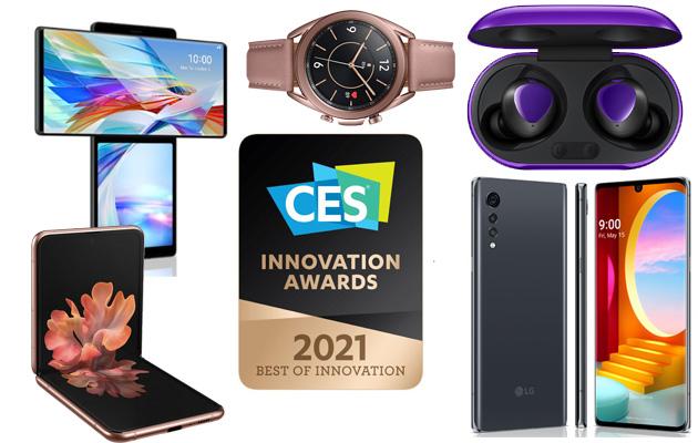 CES 2021 Awards: nove smartphone premiati, tra cui LG Wing e Velvet, Samsung Note20 e Z Flip
