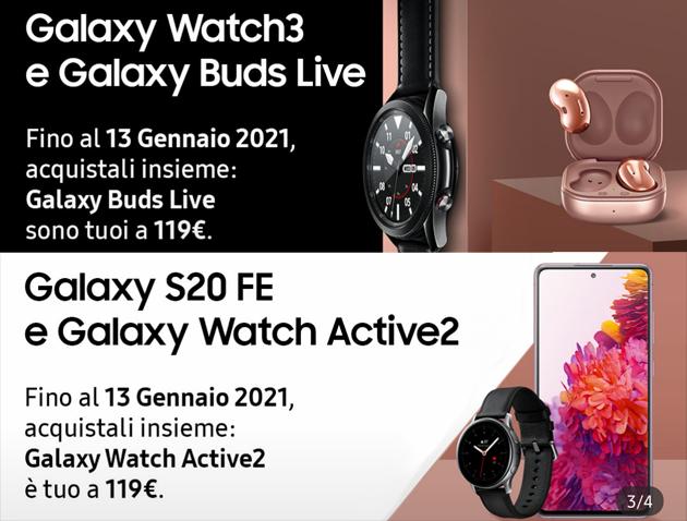 Samsung Galaxy S20 FE e Watch3 con Watch Active2 e Buds Live in promozione fino al 13 gennaio
