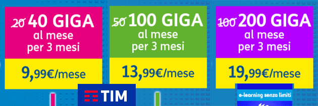 TIM Supergiga Natale 2020: 40, 100 o 200 giga per 3 mesi da 9,99 euro al mese