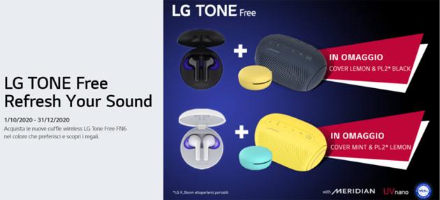 LG con gli auricolari Tone Free FN6 con custodia igienizzante regala Cover e Speaker Bluetooth
