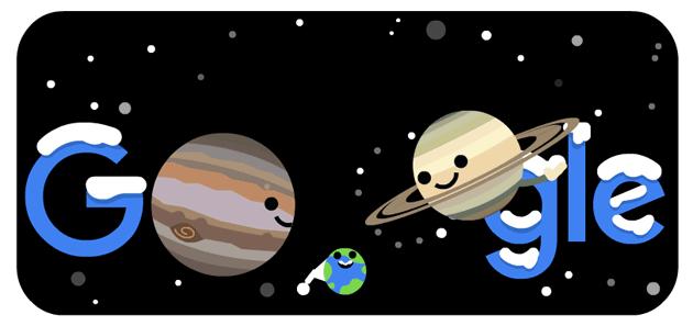 Google dedica Doodle al solstizio d'inverno 2020 e alla congiunzione di Giove e Saturno