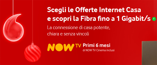 Foto Le offerte Vodafone Internet Casa regalano NOW TV Cinema 6 mesi